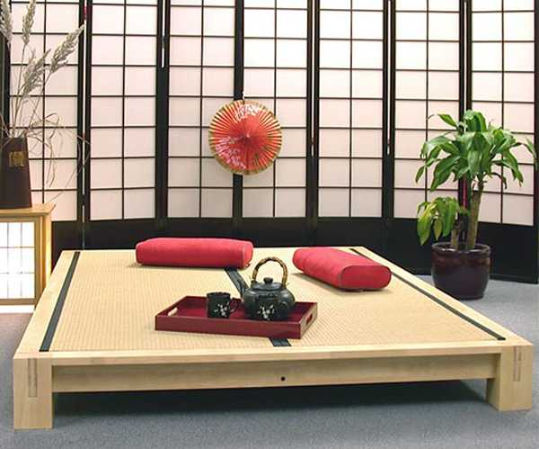 low furniture japanese style and red accents