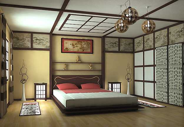 bedroom design with low bed japanese style