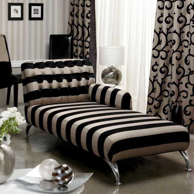 Modern chaise lounge chairs recamier for chic room decor for Black and white striped chaise lounge cushions