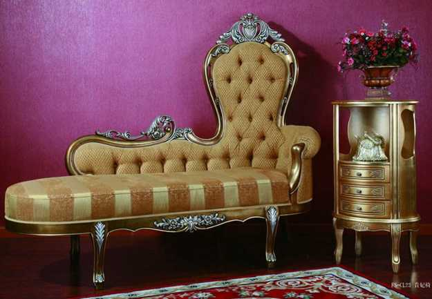 classic room decorating with chaise lounge chair in golden yellow color
