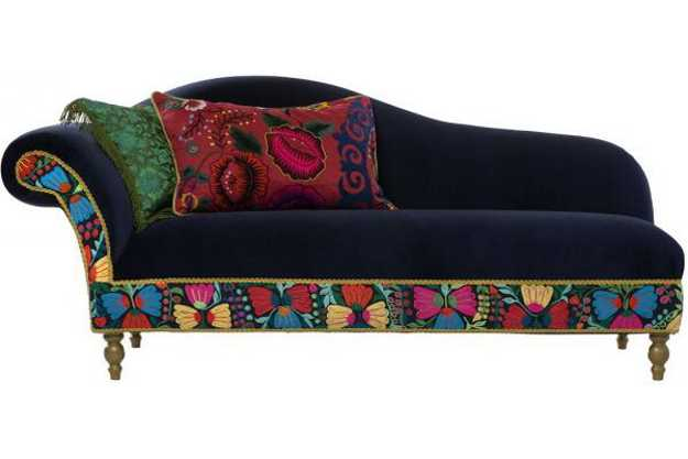 colorful recamier and pillows
