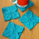 place mats in blue color with origami design