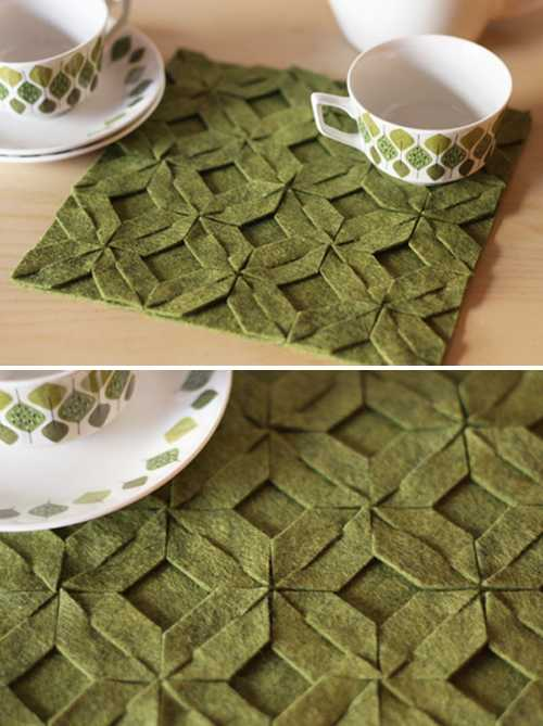 place mats with weaved floral designs