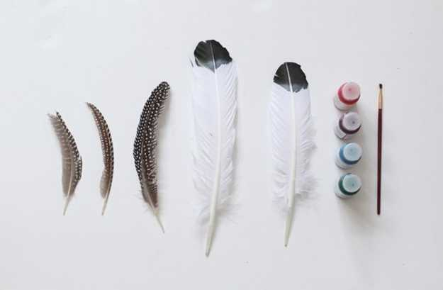Bird feathers and acrylic paints