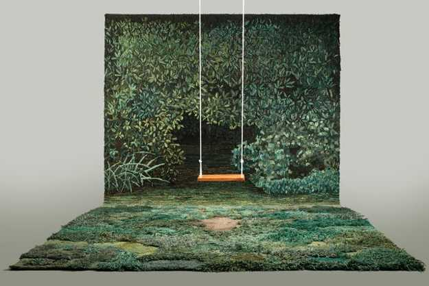 green floor rug and wall tapestry for interior decorating