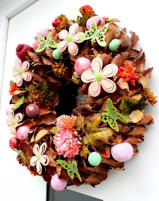 spring wreath with flowers and butterflies decorations