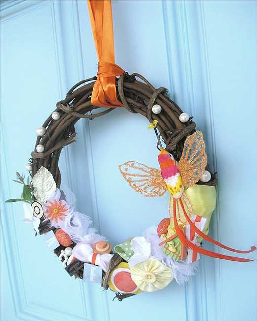 spring wreath with butterflies decorations