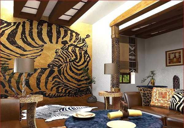 zebra floor rug and wlal decoration with african animal print
