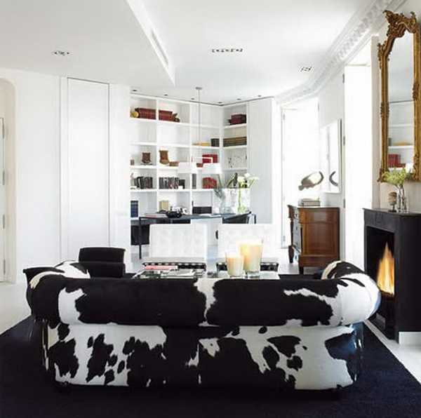 living room furniture with animal prints