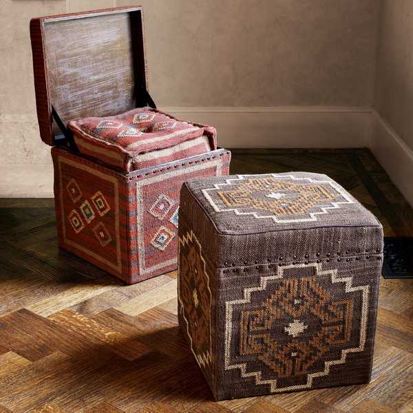 ottoman with storage, kilim upholstery fabric and decorative pillows
