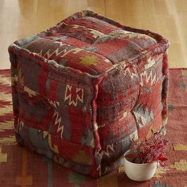 kilim ottoman, decorative fabric with geometric pattern