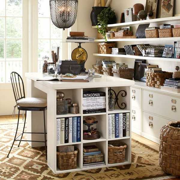 home office with wall shelves and desk with storage, kilim floor rug