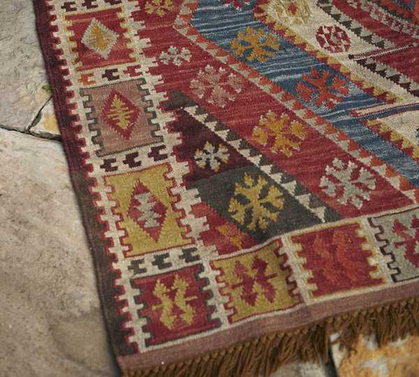 colorful kilim with geometric pattern