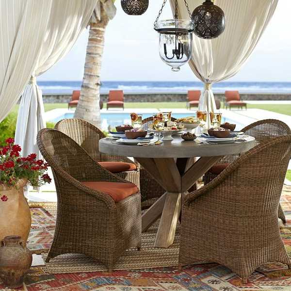 patio furniture, kilim floor rug and curtains