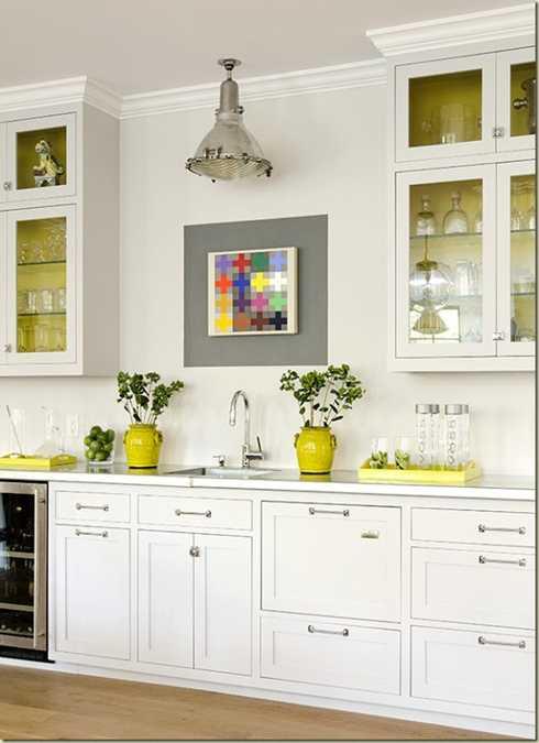 Colorful Kitchen Supplies: Yellow Color Accents Jazz Up Elegant Dark Gray Kitchen