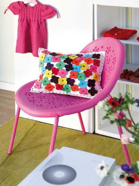 making pillows and decorating with flowers