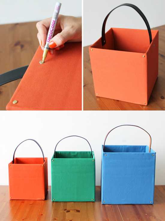 colorful totes and storage boxes for interior decorating