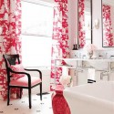 modern bathroom decor in pink color