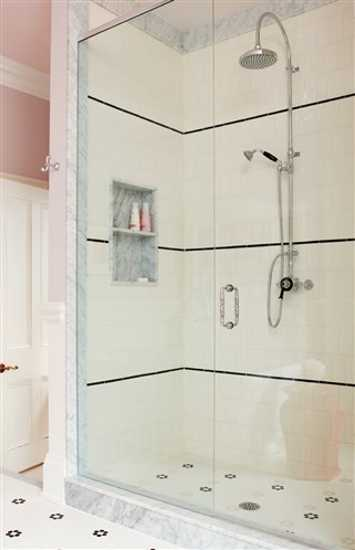 modern shower with wall tiles