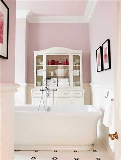 white and pink color combination, bathroom colors