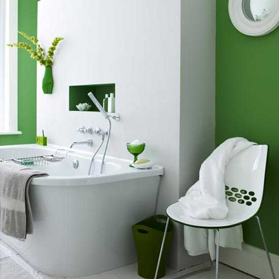 white and green bathroom design