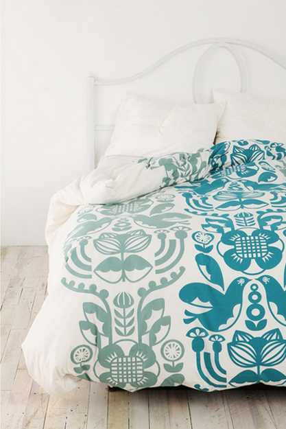 turquoise blue and white bedding set