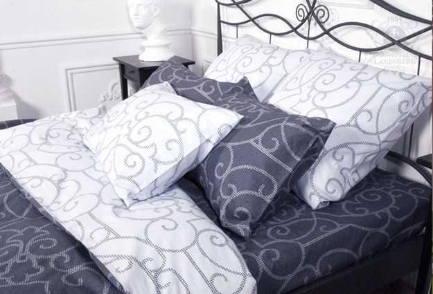 gray and white bedding set
