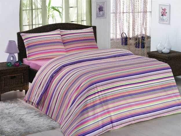 stripes bedding set in white, pink and purple colors