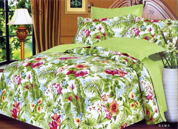 green bedding set with red flowers
