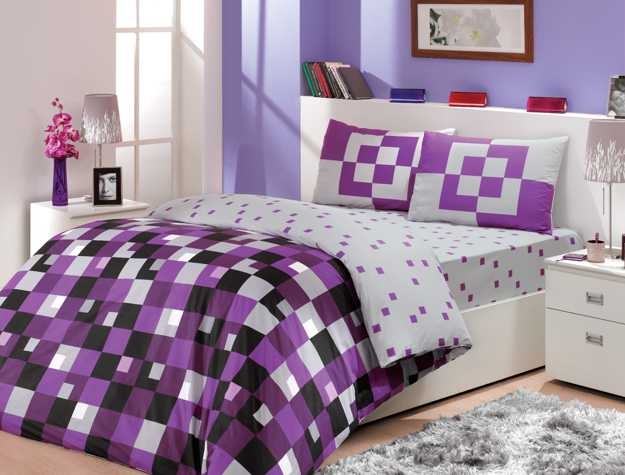 purple bedding set with geometric pattern