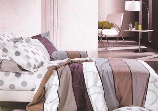 brown and white bedding set
