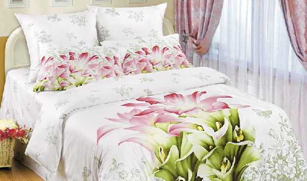 white bedding set with floral design