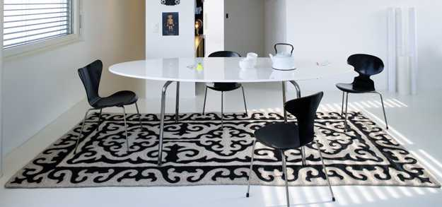 dining room decorating with black and white wool felt floor rug