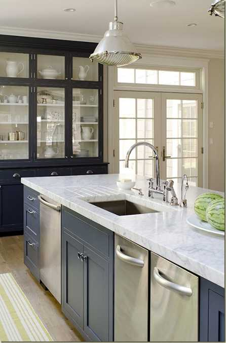 gray kitchen island with marble top