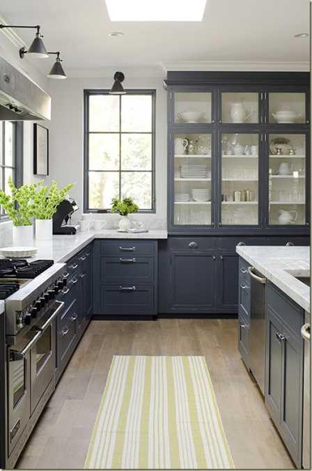 Yellow Color Accents Jazz Up Elegant Dark Gray Kitchen ...