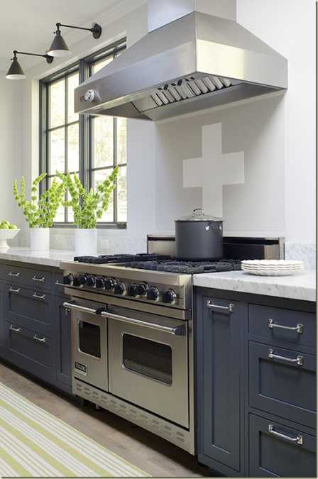 gray kitchen cabinets and indoor plants in white pots