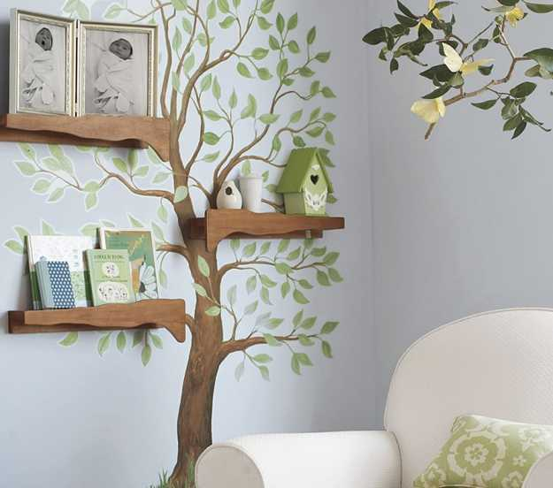 Tree Wall Shelves, Branch Painting, Creative Interior Decorating Ideas