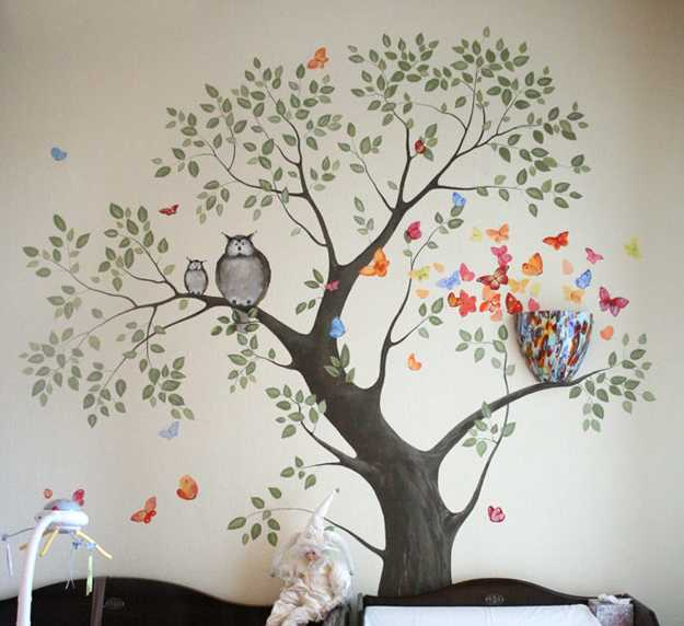 24 modern interior decorating ideas incorporating tree wall art - Childrens bedroom wall painting ideas ...