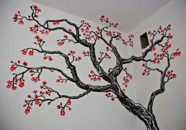 tree branches painted on wall