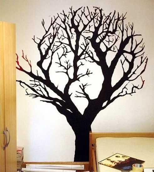 black tree on wall