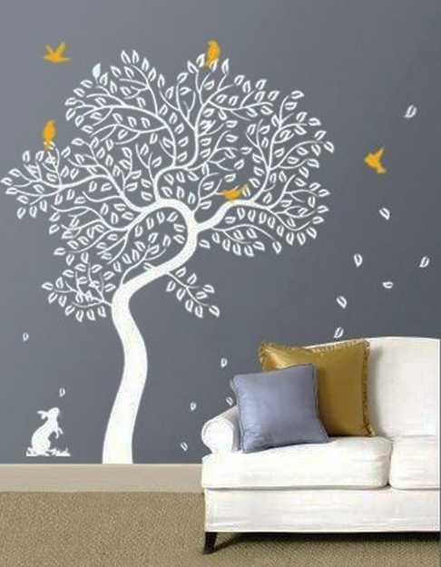 white tree on gray wall