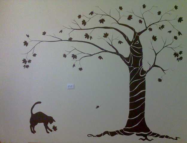 black cat under tree wall decals