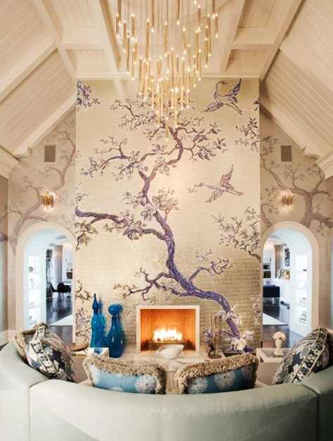 fireplace wall decorating with tree painting