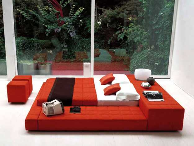 bedroom furniture in red color