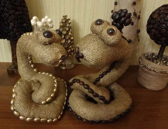 snakes made with burlap fabric