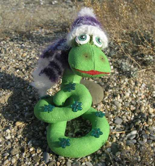 green snake made of fabric