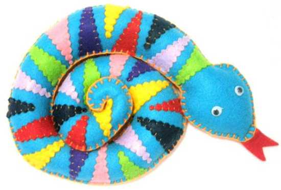 colorful snake made of felt fabrics