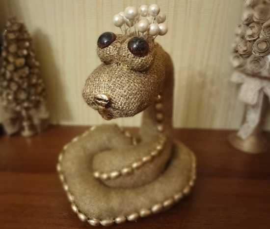 snake made with burlap fabric, home decoration