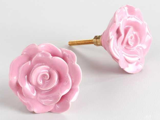 rose door knobs in pink color