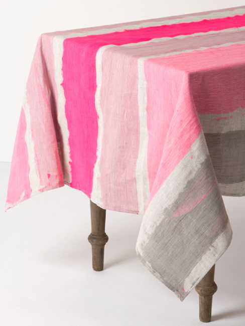 linen tablecloth with stripes in pink colors